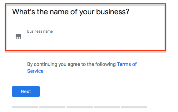 Google My Business step two is naming your business