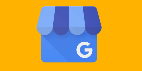 Google My Business logo on yellow background